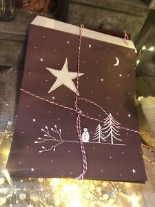 15 x Kraft Gift Party Paper Bags Starry Sky Red East of India Christmas Wrap