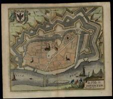 Netherlands Deventer city plan charming c.1720-40 Harrewijn decorative small map