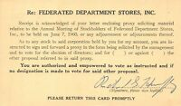 FEDERATED DEPARTMENT STORES INC~ANNUAL MEETING OF STOCKHOLDERS 1960  POSTCARD