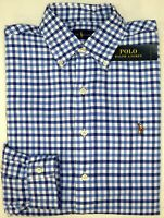 NWT $89 Polo Ralph Lauren Long Sleeve Shirt Mens S M L XL XXL Blue Plaid Oxford