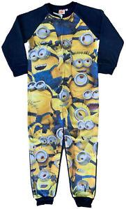 Minions Boy's Character Onezee Fleece All in One Sleepsuit One Piece Pj for Kids