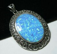 Beautiful Jewellery STERLING SILVER Blue Gilson OPAL Necklace PENDANT (large)