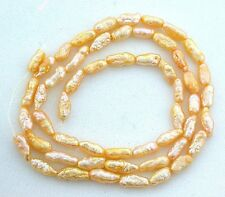 Vintage Japanese 6x3 8x3 GoldenGold  Freshwater Biwa Rice Pearl 15 Inch Strand