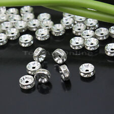 Shiny 50PCS Rhinestones Rondelle Spacer Beads Silver Crystal 8mm Jewelry Making