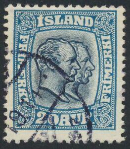 Iceland Scott 107/Facit 97, 20 aur blue Double Heads, F used