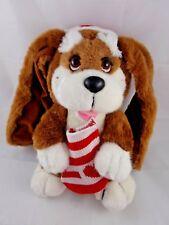 "Applause Dog Plush Kris Christmas Plush w/ Stocking & Cap 12"""