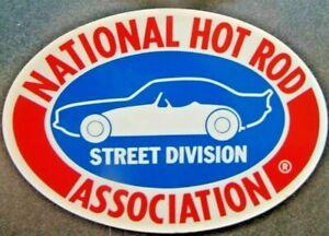 "N.H.R.A. NATIONAL HOT ROD STREET ASSOCIATION VINTAGE 1970'S DECAL 5"" OVAL NOS"