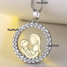 18K White Gold Crystal Necklace Mother Daughter Unique Gifts for Her Mum Xmas S1