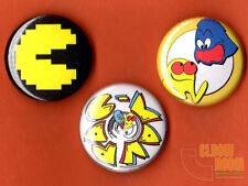 "Set of three 1"" Pac Man pinback buttons pins  arcade pac-man bally midway"