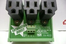 Automation Direct FA-REC3 DIN Rail Mounting Three Receptacle Convenience Outlet