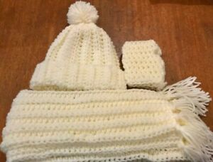 Champaign white girls Scarfe, hat and wrist warmers hand crocheted set