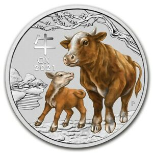 2021  1 OZ  9999 SILVER - LUNAR YEAR of the OX  COLORIZED  PERTH MINT GEM  $9.99