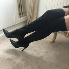 Rare WERNER Black Leather & Suede Thigh Boots Leather Soles UK Size 6 US8.5 EU