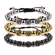 Luxury Gold Silver Plated CZ Ball Polygon Braided Bracelets Handmade New Jewelry