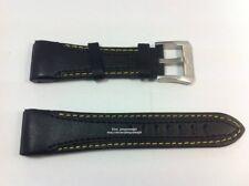 Comp. Seiko Velatura SPC049P1 26mm Black Leather Yellow Stitch Watch Band-strap