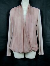 MADE IN ITALY long sleeved pink silk wrap top size Med