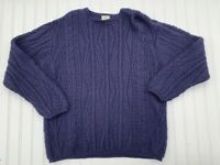 LL BEAN  Fisherman Irish Women's Chunky Cable Knit Wool Sweater Large Navy Blue