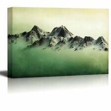 Wall26 - Mountains Over a Green Watercolor Gradient Background - Canvas- 24x36