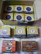 VINTAGE BOXES OF TACKS CARPET SHOE THUMB NAILS STAPLES & OTHER FASTENERS