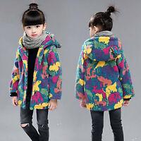 Kids Girls Camouflage Fleece Coat Camo Thick Warm Jacket Hooded Outerwear Winter