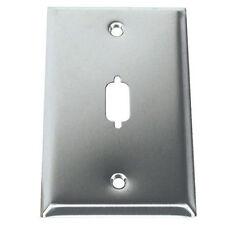 Single Port 1-Port DB9 HD15 RS232 VGA SVGA Stainless Metal Wall Plate