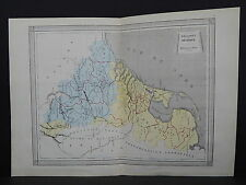 Antique Maps, French Atlas, c. 1870, Hand Color, Holland, Belgium S21
