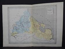 Antique Maps, French Atlas, c. 1870, Hand Color, Holland, Belgium S21