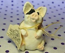 Character Collectibles Spotted Pig Figurine Straw Bow Around Neck Whimsical