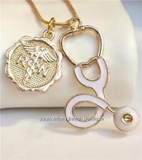 Gold RN Nursing Necklace Caduceus Stethoscope Nurse Graduation Gift Box USSeller