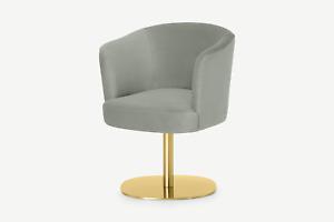 Made.com Revy Modern Grey Sage Velvet Brass Leg Round Office Chair - RRP £249
