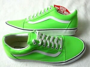 Vans Mens Old Skool Neon Green Gecko True White Canvas Skate shoes Size 10 NWT