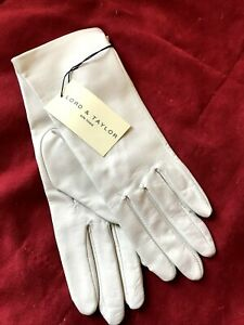 NWT Lord & Taylor Ivory Leather Gloves Silk Lined Size 6.5