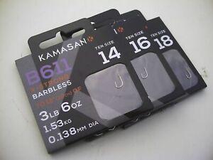 Kamasan B611 Barbless Hooks to Nylon. Sizes 14 16,18. 20 Carp, Course @TTB