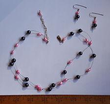 Gf Necklace Earrings Set Hypoallergenic Genuine Pink Culture Pearl Hematite 14K