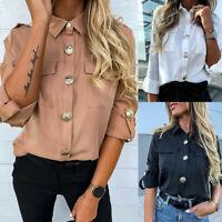 Women Long Sleeve Casual Buttons Shirt Ladies Plain OL Office Work Blouse Tops
