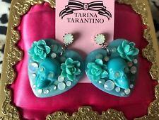 Tarina Tarantino Vintage Desert Skulls Turquoise Blue Rose Lucite Heart Earrings