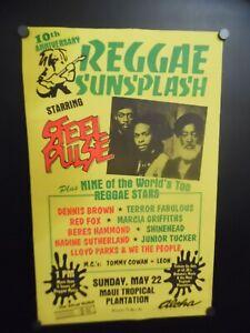 1988 REGGAE SUNSPLASH World Tour Concert Poster Steel Pulse Maui Hawaii ORIGINAL
