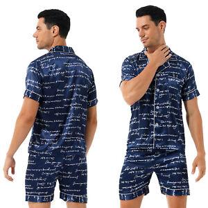 Men Satin Pajama Set Two-piece Sleepwear Loungewear Short Sleeve Shirt Shorts