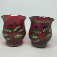 Crackle Glass Red Hand Painted Candle Votive Holders Holly Set of 2