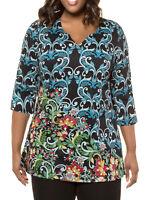 Ulla Popken ladies tunic top plus size 32/34 swing style cotton knit notch neck