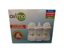 New listing Avima Baby 12 oz Anti Colic Infant Baby Bottles 3 Pack Wide Neck 6+ Months- New