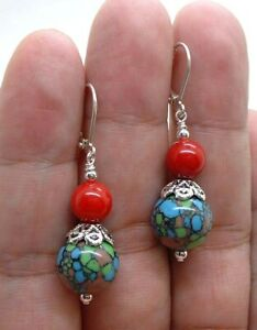 Gorgeous Blue Mosaic Turquoise W. Red Coral Sterling Silver Earrings !! A0830