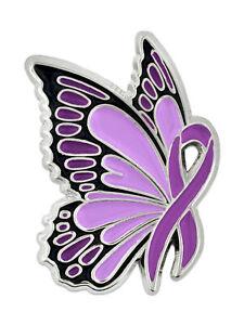 PinMart's Domestic Violence Awareness Butterfly Purple Ribbon Enamel Lapel Pin