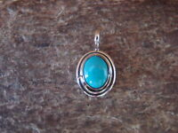 Small Navajo Indian Sterling Silver Turquoise Pendant / Charm by Jan Mariano