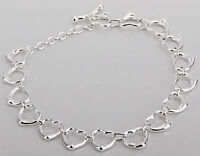 925 STERLING SILVER PLATED CHAIN LINKED HEARTS BRACELET UK SELLER