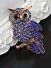 Diamante Blue gold sparkly Owl Brooch Jewellery Badge Costume Dress Gift present