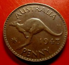Very Fine 1943 Australia Penny. Slight rim error on the Kangaroo side top rim.