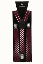Burgundy Polka Dot Adjustable Braces Unisex Fancy Dress Clip On Slim 2.5cm