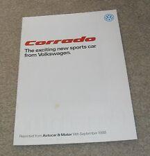 Volkswagen VW Corrado Autocar Feature Brochure 1988-1989 - 2.0 16v & G60