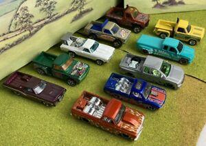 Hot wheels job lot bundle US Custom Pick Up Trucks x 10 good condition